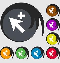 Cursor arrow plus add icon sign Symbols on eight vector