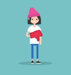 Dislike concept displeased teenage girl wearing vector