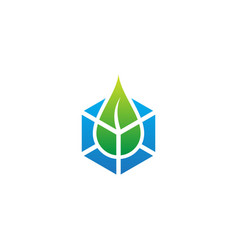 droplet ecology green leaf tech logo vector image