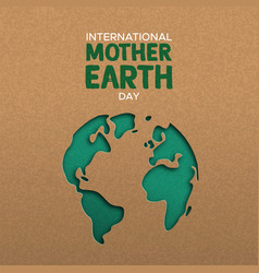 earth day of paper cut world map vector image