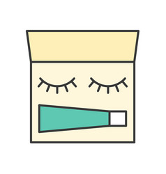 Eyelashes and glue in palette vector