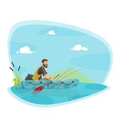 Fishing sport icon with fisherman on boat with rod vector