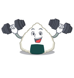 Fitness onigiri character cartoon style vector