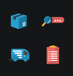 Flat colorful shop icons on black vector