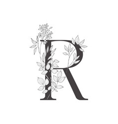 floral botanical alphabet letter with plants and vector image