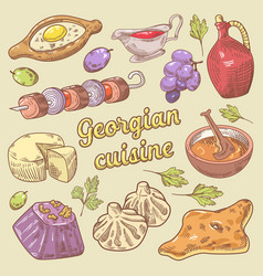 Georgian cuisine traditional food with khinkali vector