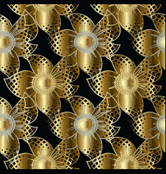 gold 3d flowers seamless pattern vector image