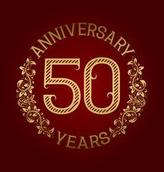 golden emblem of fiftieth anniversary vector image