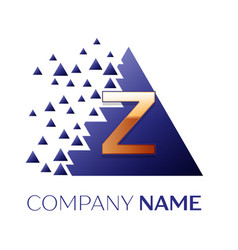 golden letter z logo symbol in blue pixel triangle vector image