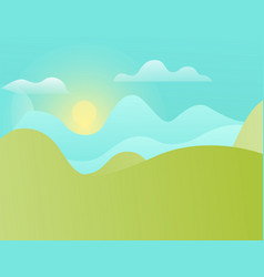 green hills and blue sky with shining sun vector image
