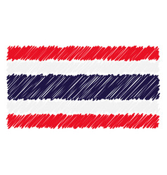 hand drawn national flag of thailand isolated on a vector image