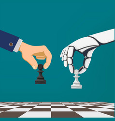 Hand holding a chess vector