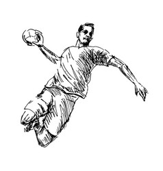 hand sketch handball player vector image
