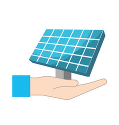 hand with solar energy element to reuse energy vector image