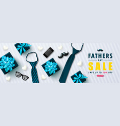 Happy father s day sale banner with gift boxes vector