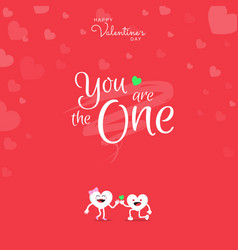 Happy valentines day with handwriting you are the vector