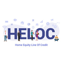 Heloc home equity line credit concept with big vector