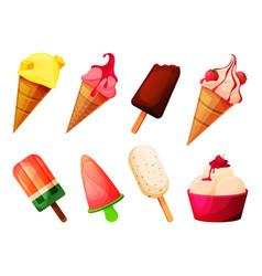 Icecream set frozen ice cold dessert vector