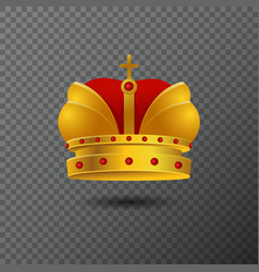 icon of golden crown with red stones and vector image