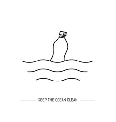 keep the ocean clean isolated line vector image