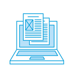 laptop computer with documents vector image