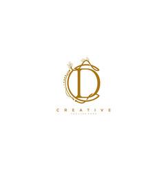 letter d floral monogram rounded ornate elegant vector image