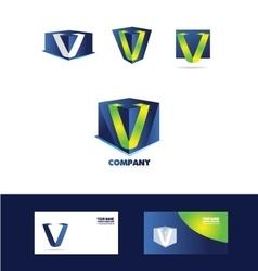 Letter V cube 3d logo vector image