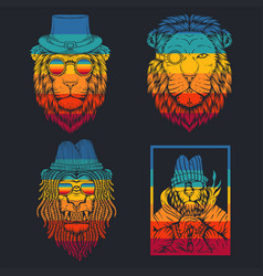 lion retro vector image