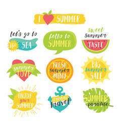 lovely cute bright summer colorful set with vector image