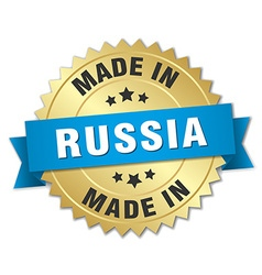 Made in Russia gold badge with blue ribbon vector