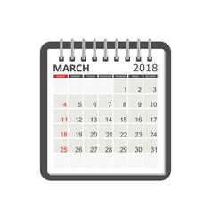 march 2018 calendar calendar notebook page vector image