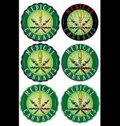 Medical Marijuana design leaf textured stamps vector image