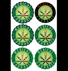 Medical Marijuana design leaf textured stamps vector