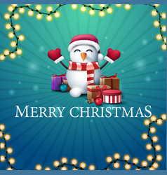 merry christmas blue square postcard vector image