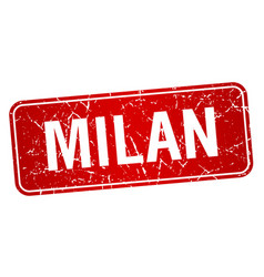 Milan red stamp isolated on white background vector
