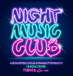 Neon colorful poster night music club vector