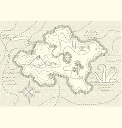 old hand drawn map with vintage wind rose routs vector image