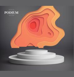 paper cut art 3d 3d podium display luxury vector image