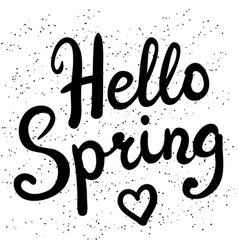 Phrase hello spring brush pen lettering vector