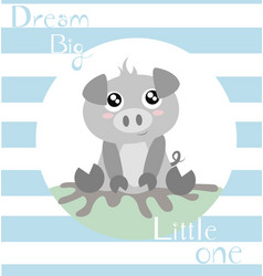 Piglet with baby blue vector
