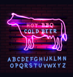 red and pink neon bbq cow sign on a brick vector image