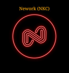 Red neon nework nkc cryptocurrency symbol vector