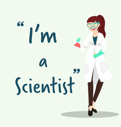 Scientist character with science experiment flat vector
