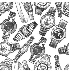 seamless pattern with different wristwatches vector image