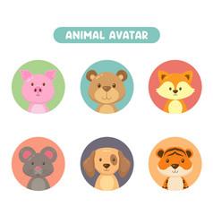 Set 6 animal avatar vector
