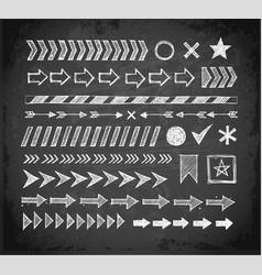 set doodle arrow dividers pointers danger vector image