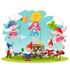 Set fairy tale and gnome fantasy cartoon vector
