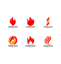 set fire flame logo design template vector image