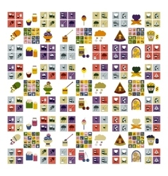 Set flat icons with long shadow fast food vector
