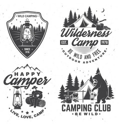 set of happy camper outdoor adventure symbol vector image